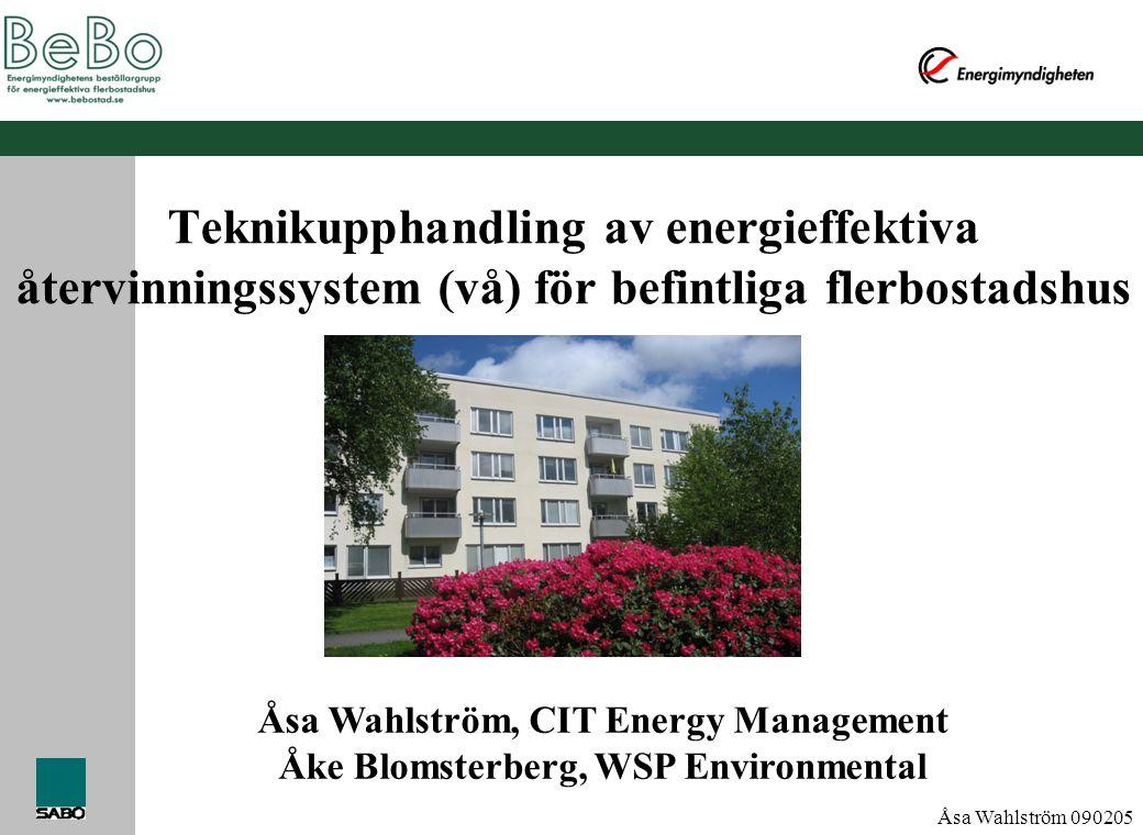 Teknikupphandling av energieffektiva återvinningssystem (vå) för befintliga flerbostadshus