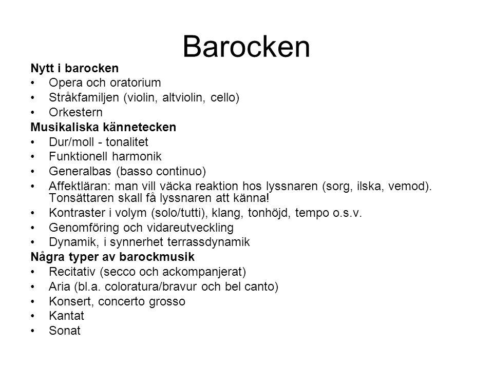 Barocken Nytt i barocken Opera och oratorium