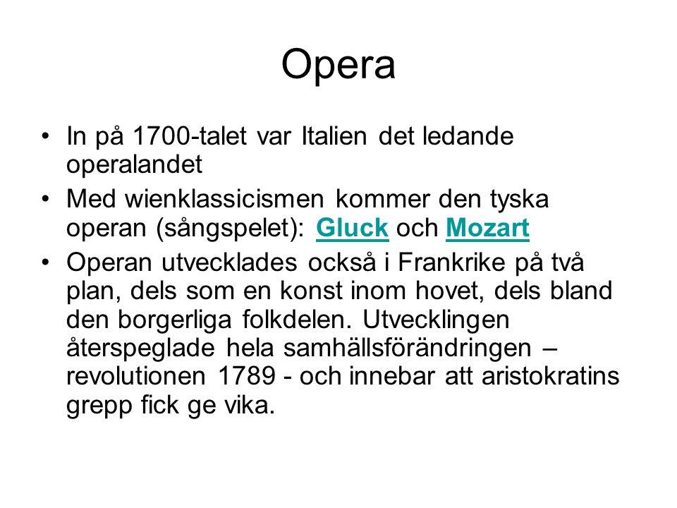 Opera In på 1700-talet var Italien det ledande operalandet
