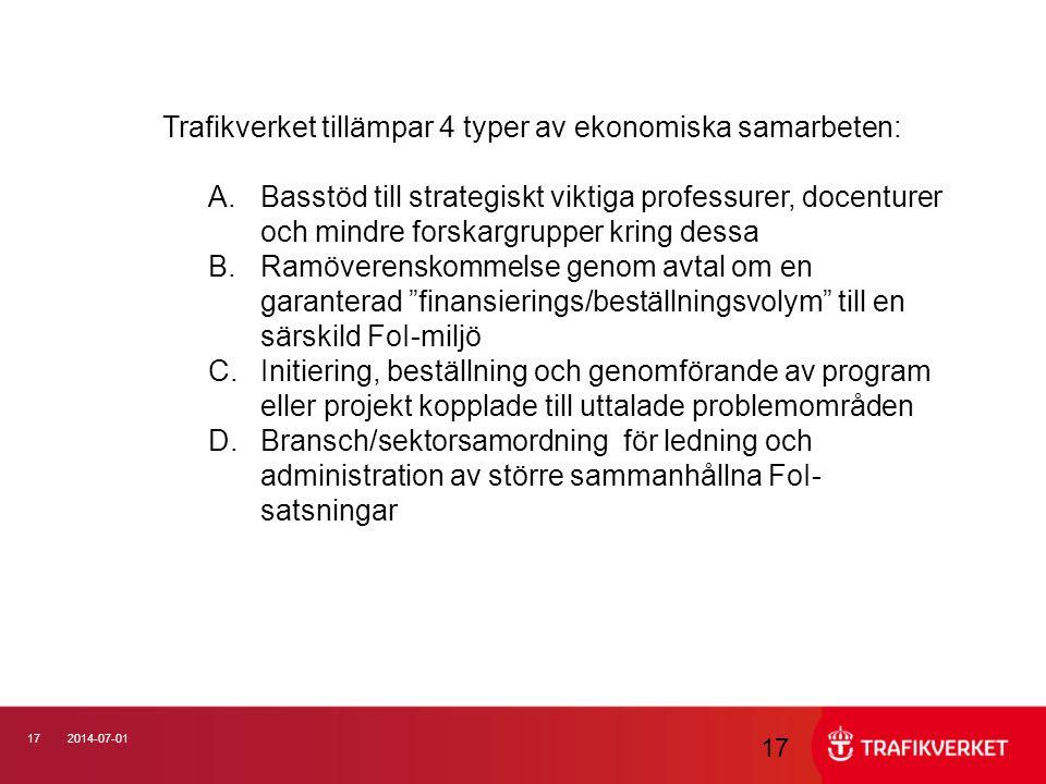 Trafikverket tillämpar 4 typer av ekonomiska samarbeten: