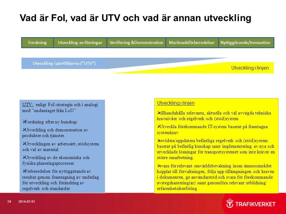 Vad är FoI, vad är UTV och vad är annan utveckling