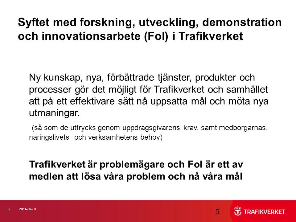 Syftet med forskning, utveckling, demonstration och innovationsarbete (FoI) i Trafikverket