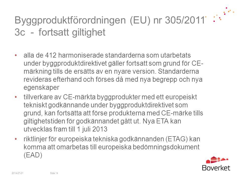 Byggproduktförordningen (EU) nr 305/2011 3c - fortsatt giltighet