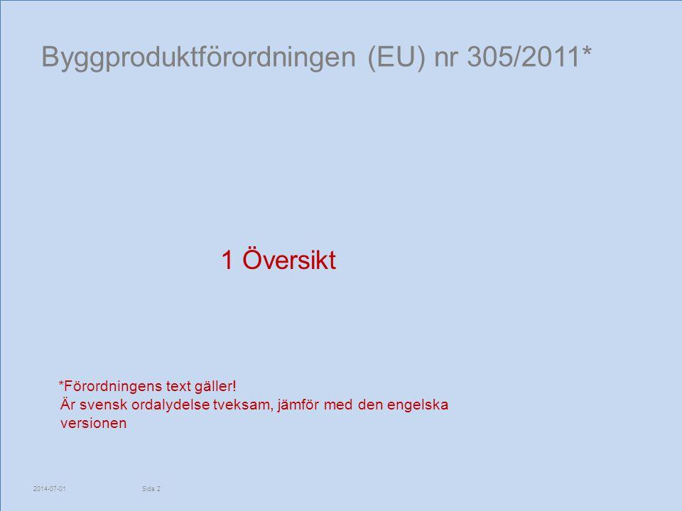 Byggproduktförordningen (EU) nr 305/2011*