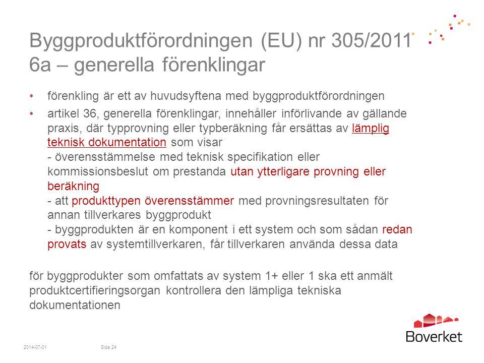 Byggproduktförordningen (EU) nr 305/2011 6a – generella förenklingar
