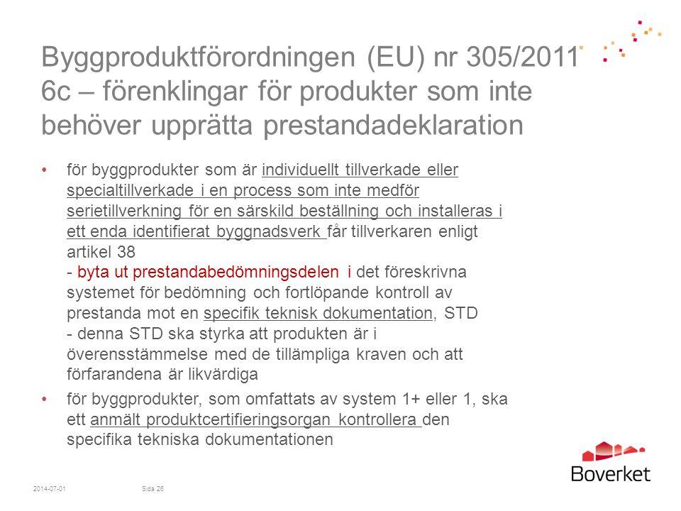 Byggproduktförordningen (EU) nr 305/2011 6c – förenklingar för produkter som inte behöver upprätta prestandadeklaration