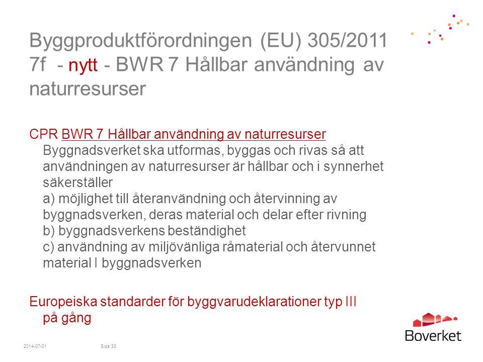 Byggproduktförordningen (EU) 305/2011 7f - nytt - BWR 7 Hållbar användning av naturresurser