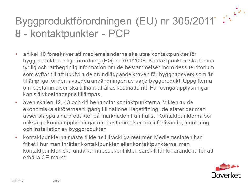 Byggproduktförordningen (EU) nr 305/2011 8 - kontaktpunkter - PCP