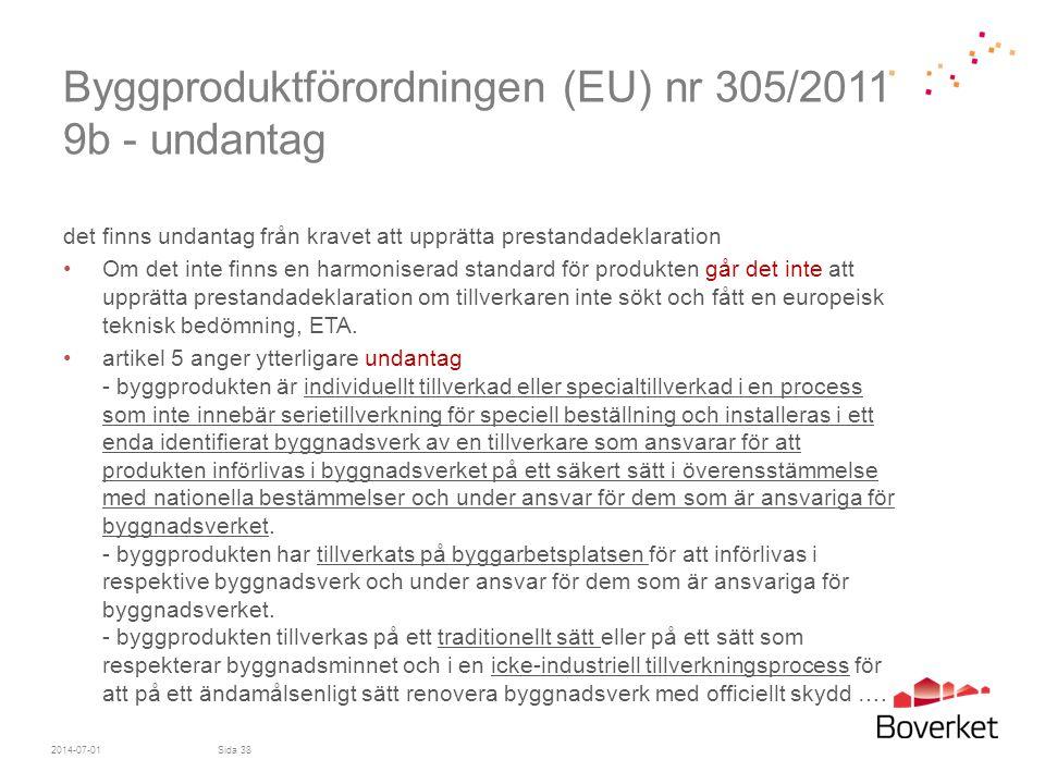 Byggproduktförordningen (EU) nr 305/2011 9b - undantag