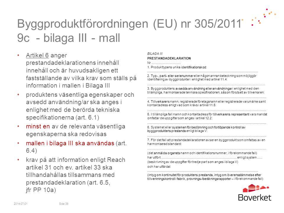 Byggproduktförordningen (EU) nr 305/2011 9c - bilaga III - mall