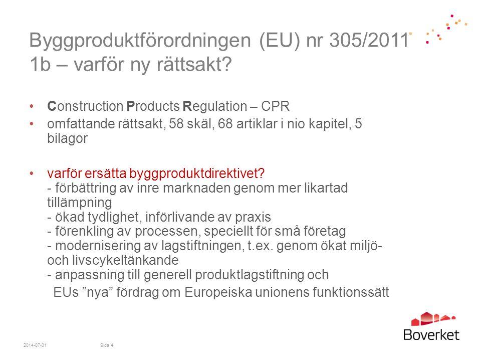 Byggproduktförordningen (EU) nr 305/2011 1b – varför ny rättsakt