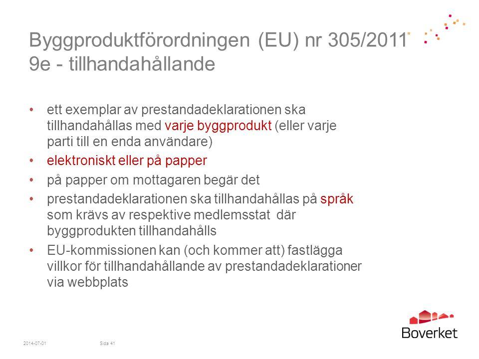 Byggproduktförordningen (EU) nr 305/2011 9e - tillhandahållande
