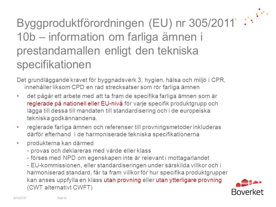 Byggproduktförordningen (EU) nr 305/2011 10b – information om farliga ämnen i prestandamallen enligt den tekniska specifikationen
