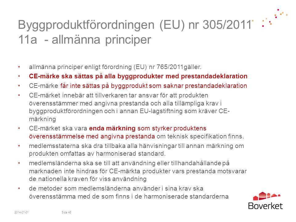 Byggproduktförordningen (EU) nr 305/2011 11a - allmänna principer