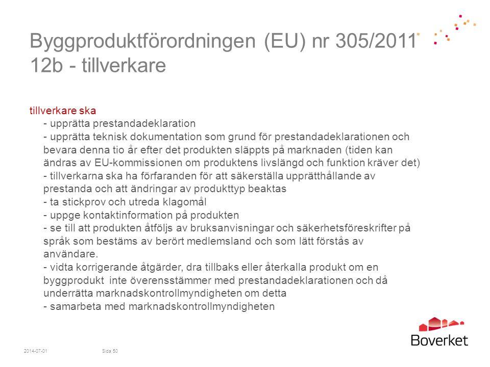 Byggproduktförordningen (EU) nr 305/2011 12b - tillverkare