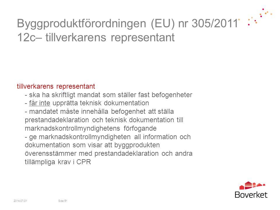 Byggproduktförordningen (EU) nr 305/2011 12c– tillverkarens representant