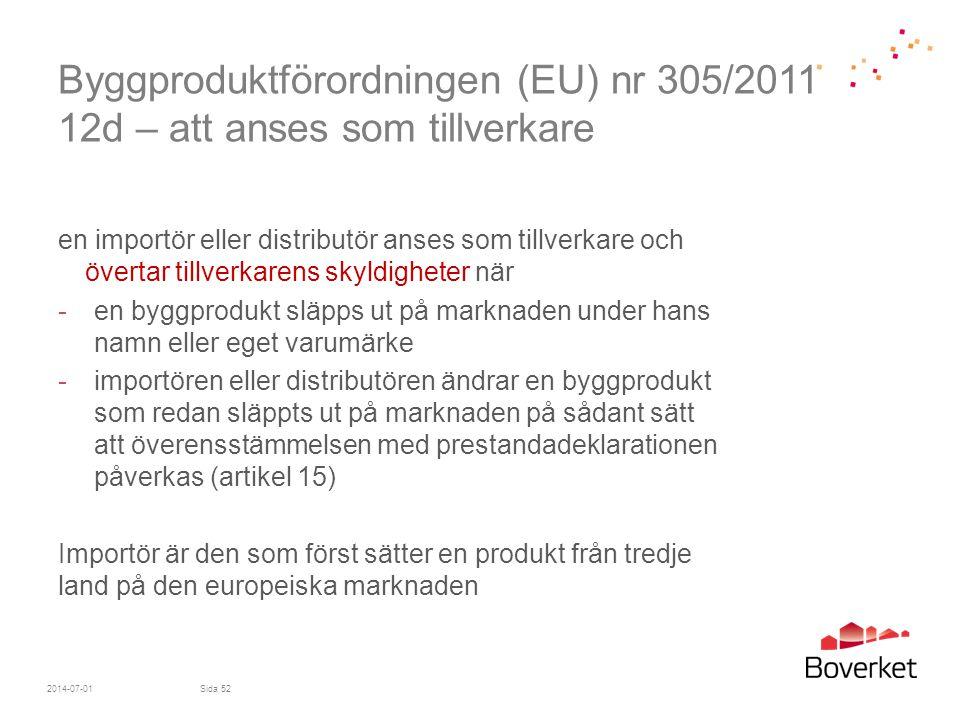 Byggproduktförordningen (EU) nr 305/2011 12d – att anses som tillverkare