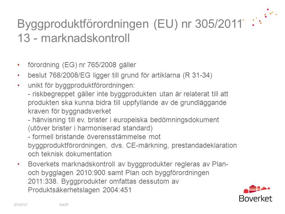 Byggproduktförordningen (EU) nr 305/2011 13 - marknadskontroll