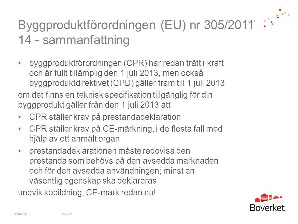Byggproduktförordningen (EU) nr 305/2011 14 - sammanfattning