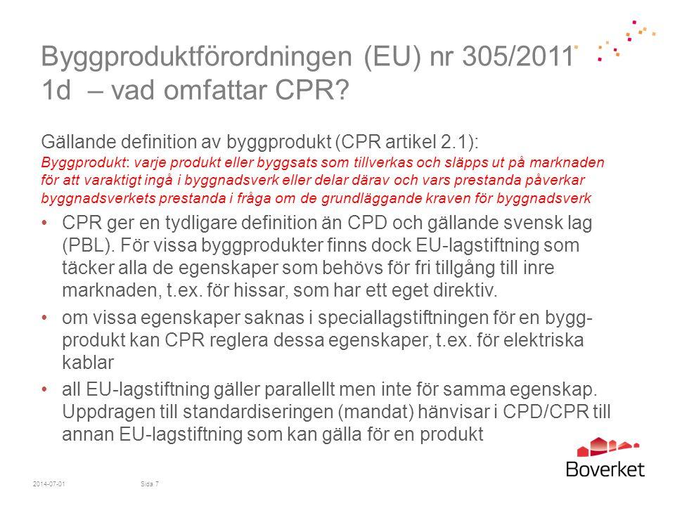 Byggproduktförordningen (EU) nr 305/2011 1d – vad omfattar CPR