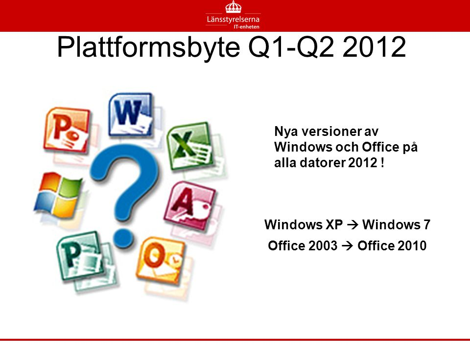 Plattformsbyte Q1-Q2 2012 Nya versioner av Windows och Office på alla datorer 2012 ! Windows XP  Windows 7.