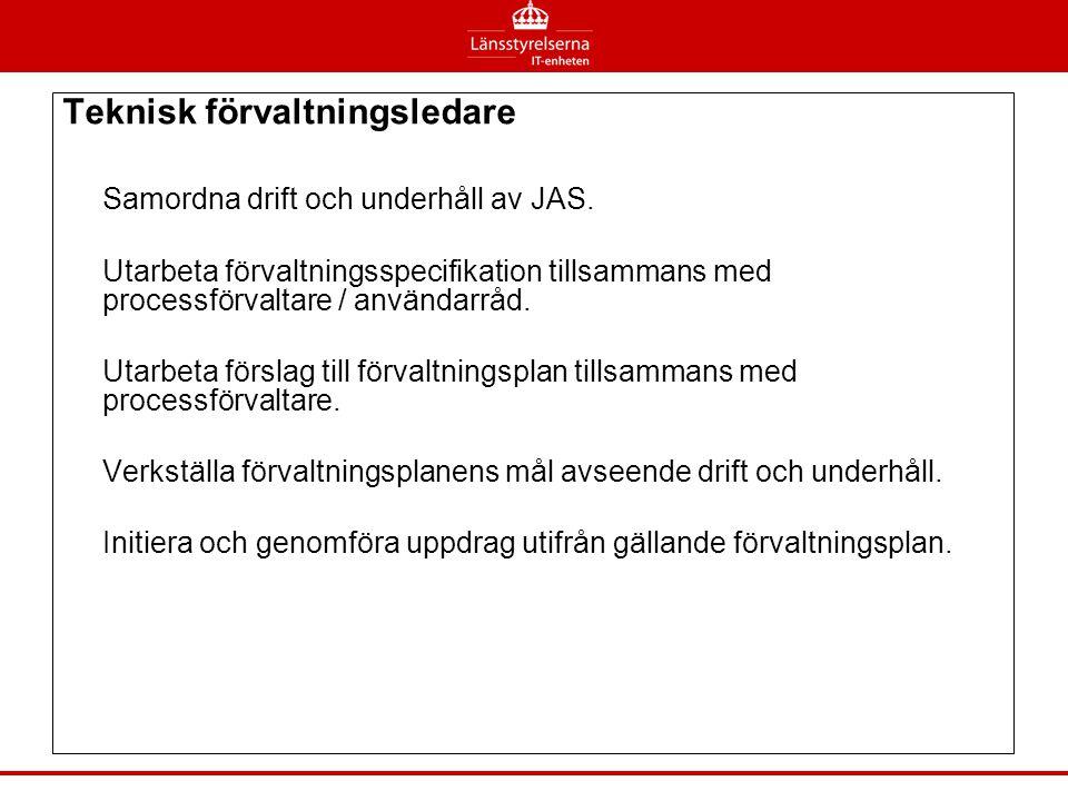 Teknisk förvaltningsledare Samordna drift och underhåll av JAS.