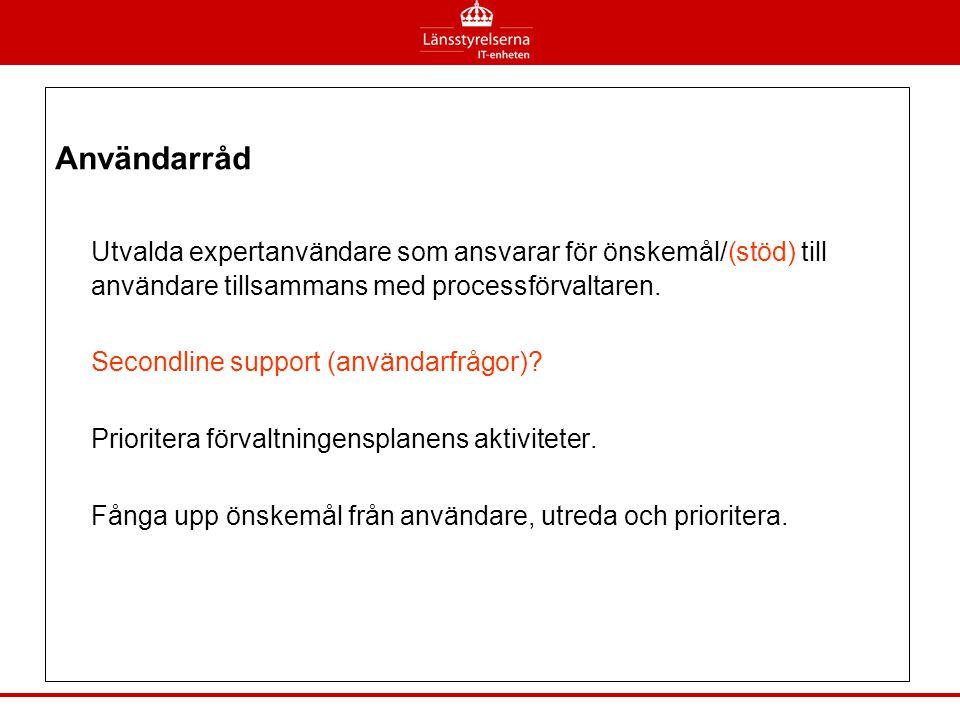 Användarråd Utvalda expertanvändare som ansvarar för önskemål/(stöd) till användare tillsammans med processförvaltaren.