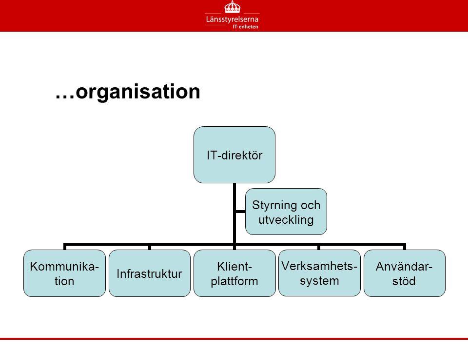 …organisation En virituell organisation som inte är knuten till en verksamhetsort förutom helpdesk och testverksamhet som är centraliserade.