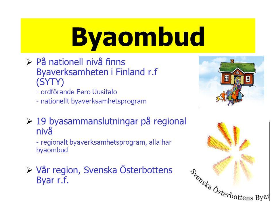 Byaombud På nationell nivå finns Byaverksamheten i Finland r.f (SYTY)