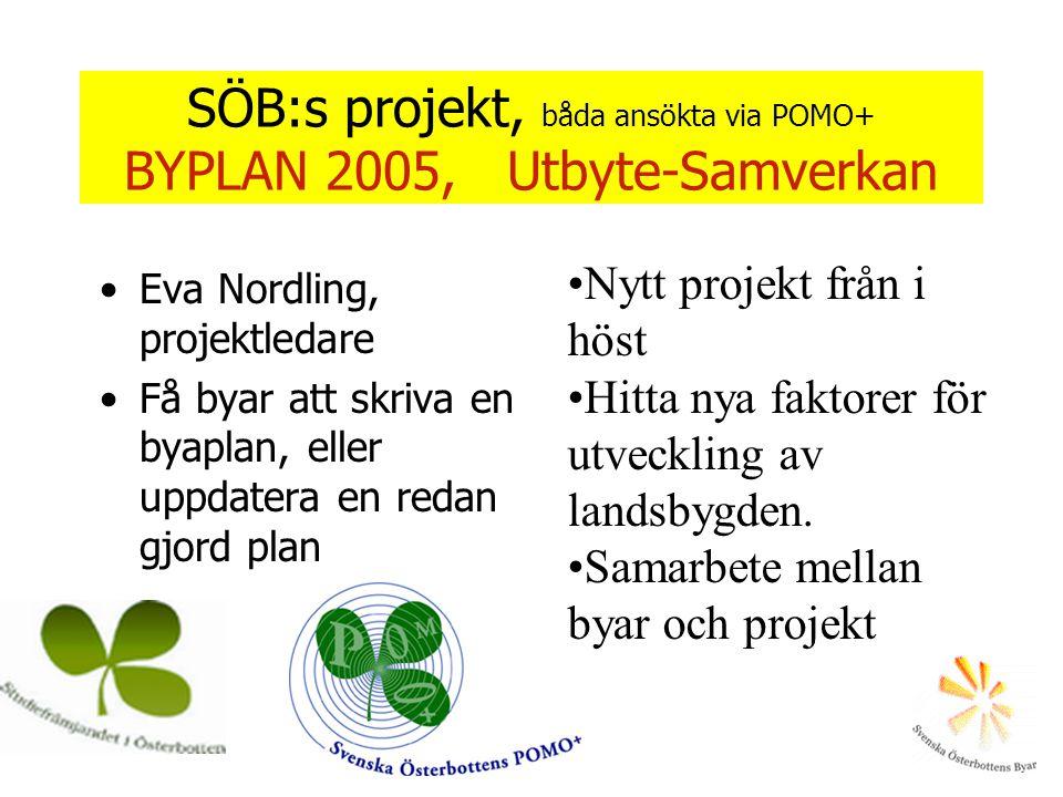 SÖB:s projekt, båda ansökta via POMO+ BYPLAN 2005, Utbyte-Samverkan