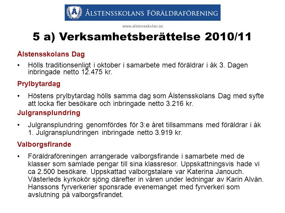 5 a) Verksamhetsberättelse 2010/11