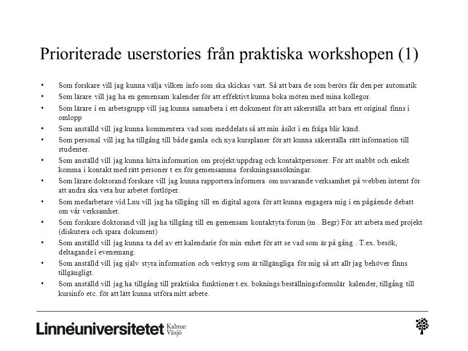 Prioriterade userstories från praktiska workshopen (1)