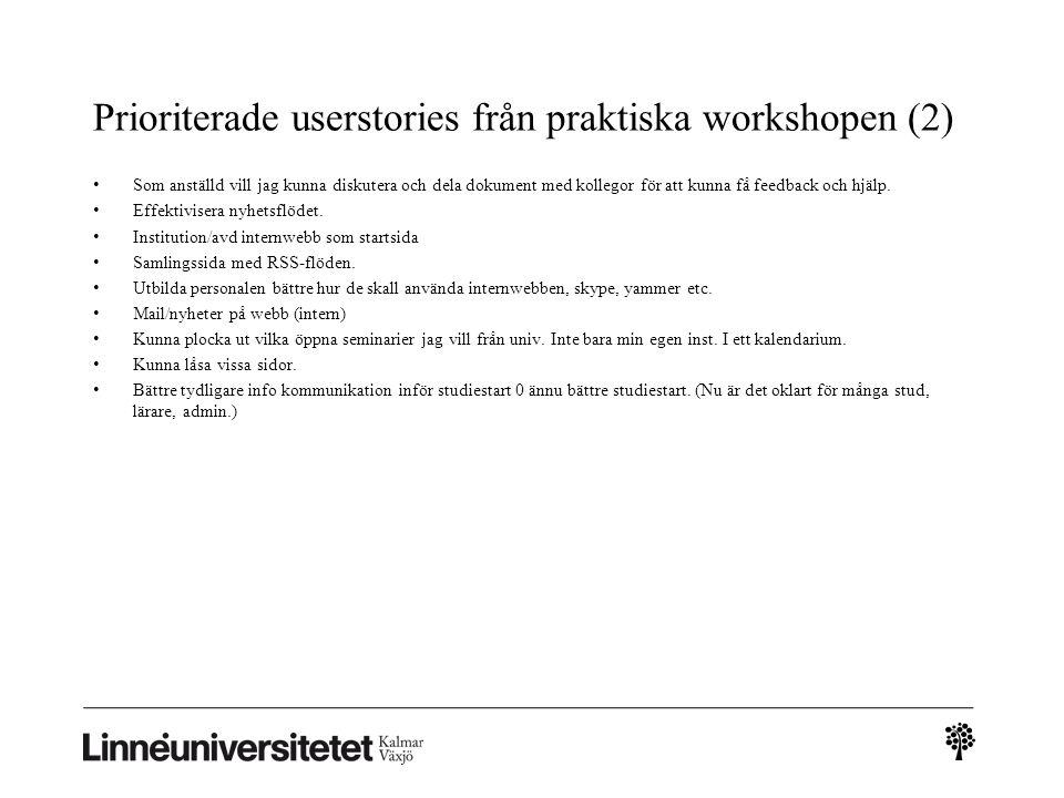 Prioriterade userstories från praktiska workshopen (2)