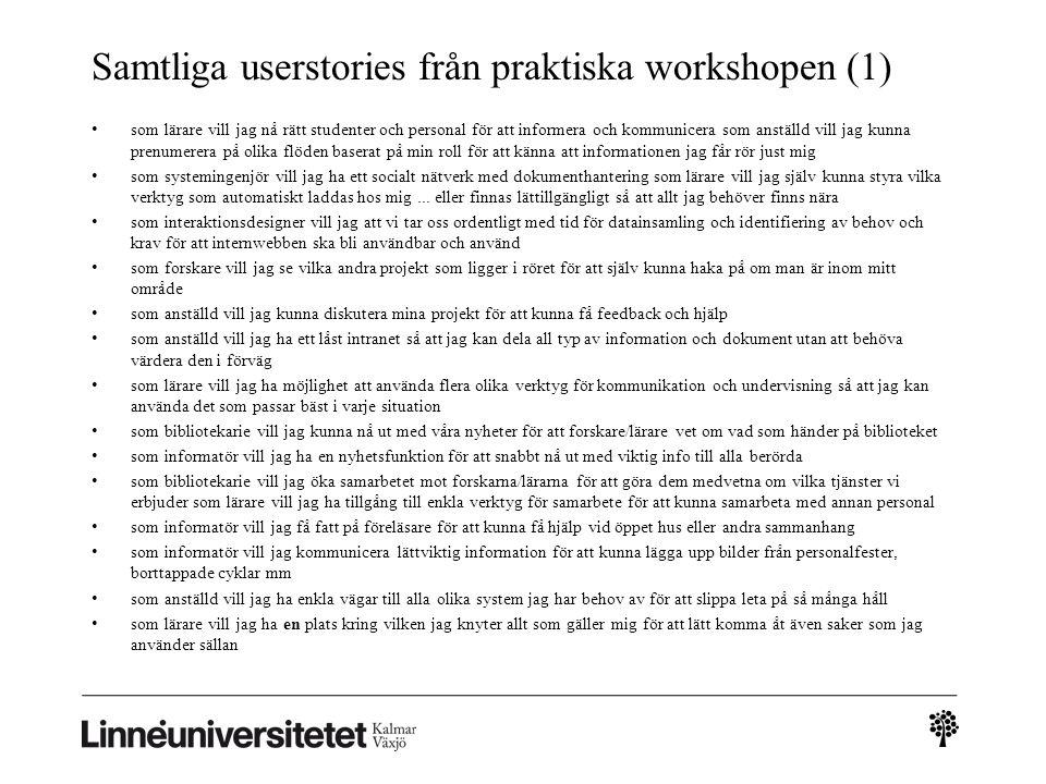 Samtliga userstories från praktiska workshopen (1)