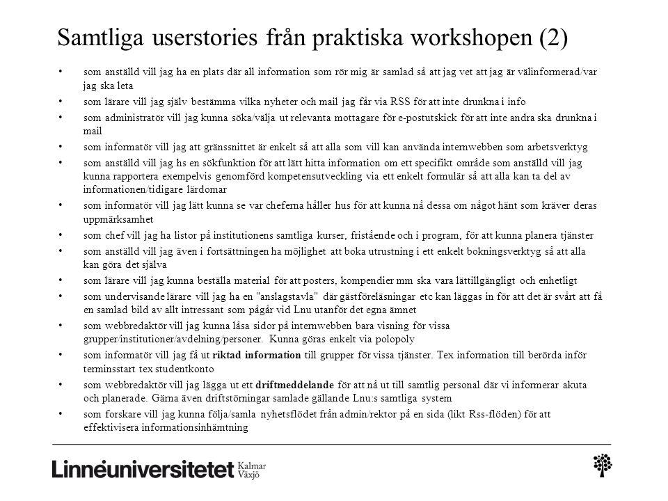 Samtliga userstories från praktiska workshopen (2)