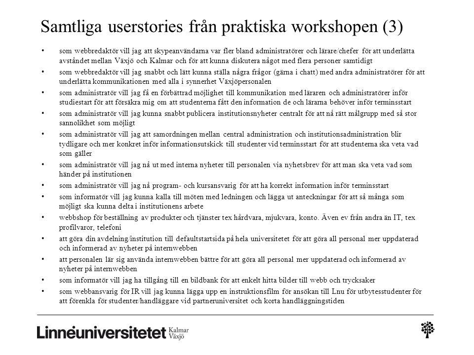Samtliga userstories från praktiska workshopen (3)