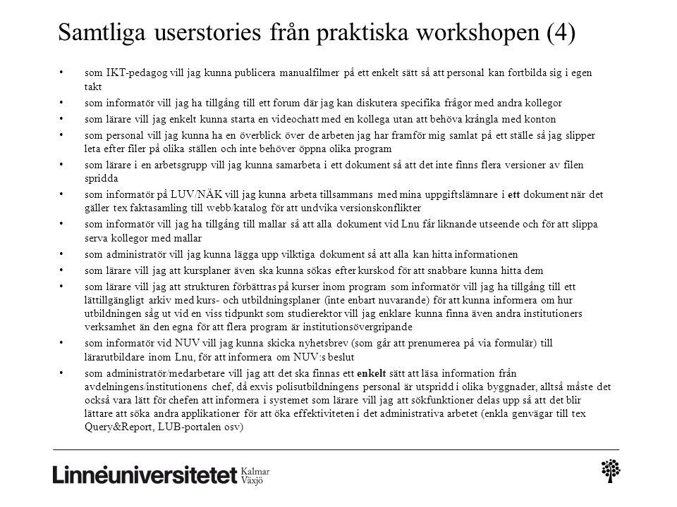 Samtliga userstories från praktiska workshopen (4)