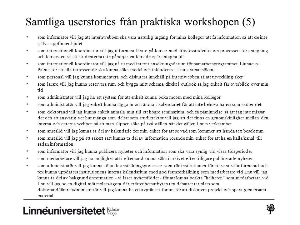 Samtliga userstories från praktiska workshopen (5)