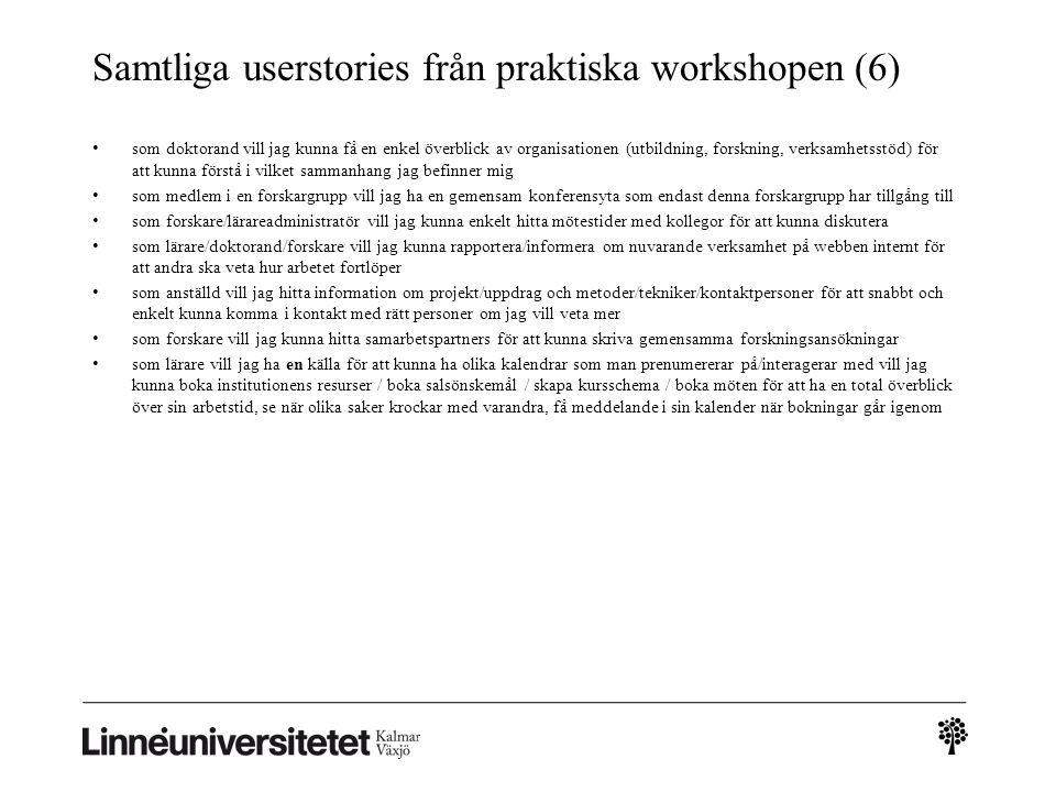 Samtliga userstories från praktiska workshopen (6)
