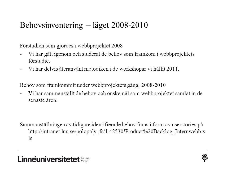 Behovsinventering – läget 2008-2010