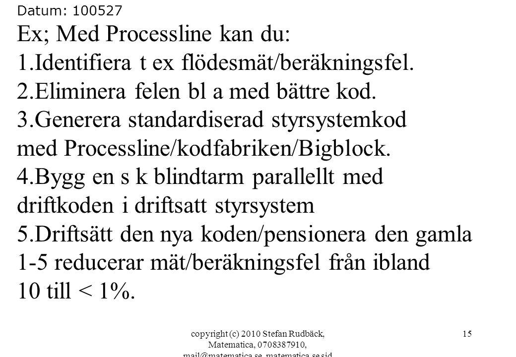 Ex; Med Processline kan du: