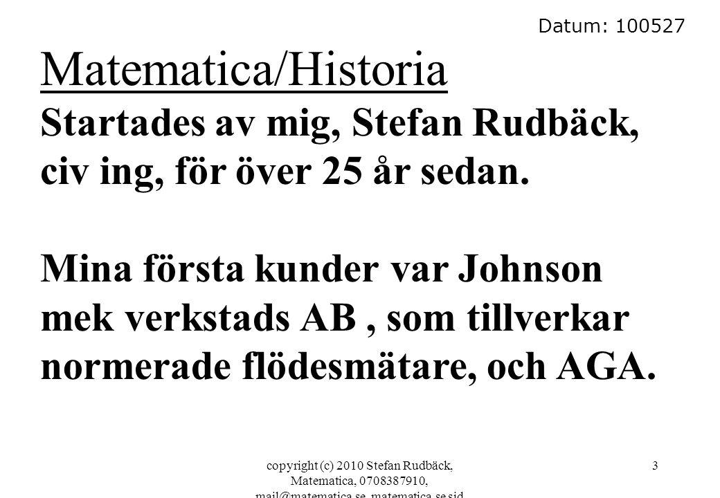 Datum: 100527 Matematica/Historia. Startades av mig, Stefan Rudbäck, civ ing, för över 25 år sedan.