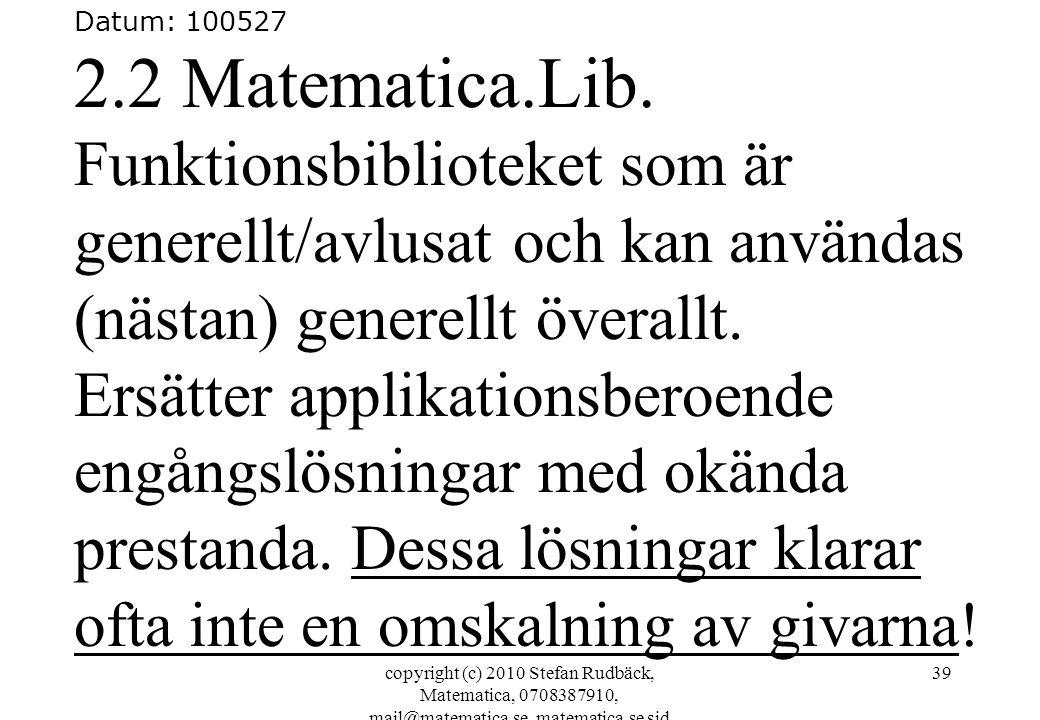 Datum: 100527 2.2 Matematica.Lib. Funktionsbiblioteket som är generellt/avlusat och kan användas (nästan) generellt överallt.