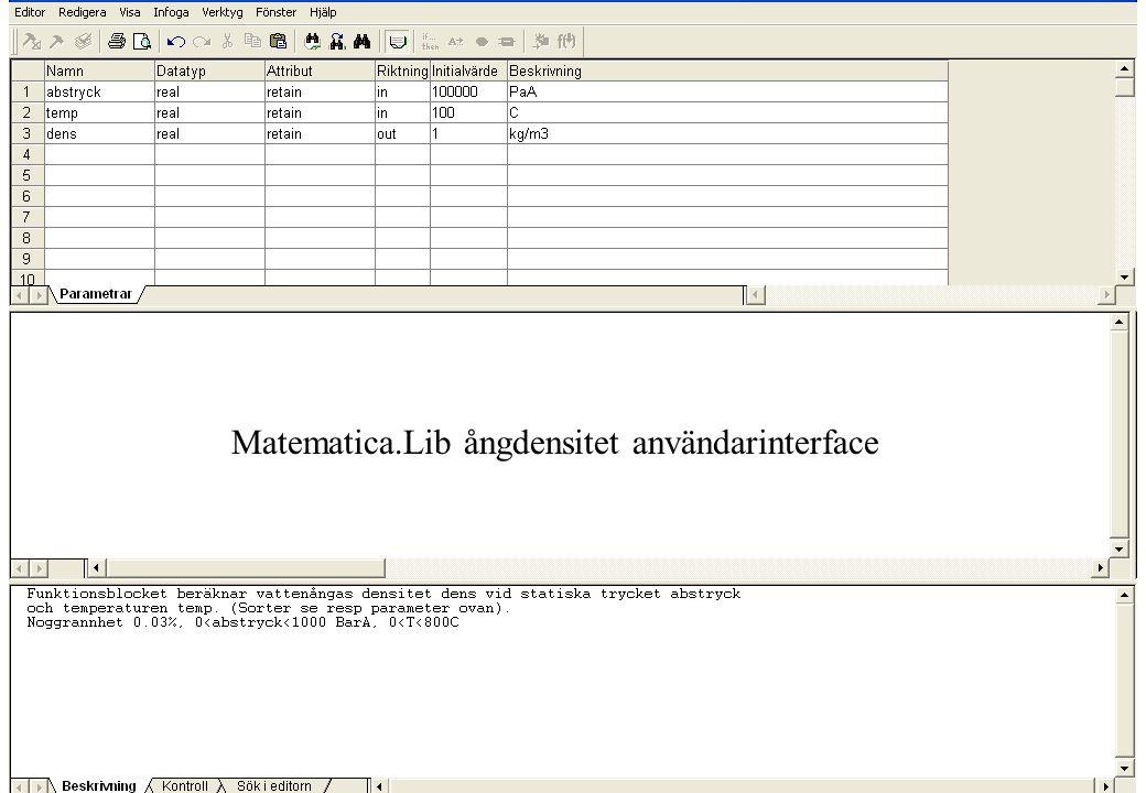 Matematica.Lib ångdensitet användarinterface