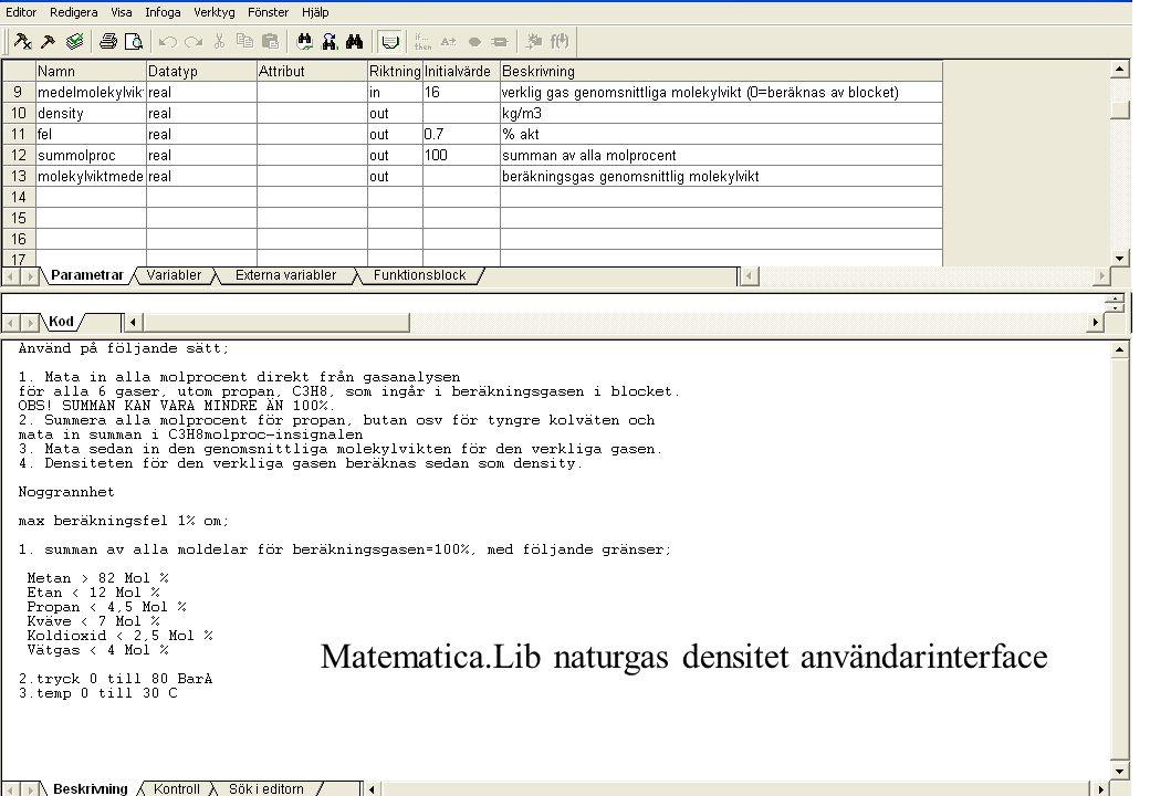 Matematica.Lib naturgas densitet användarinterface