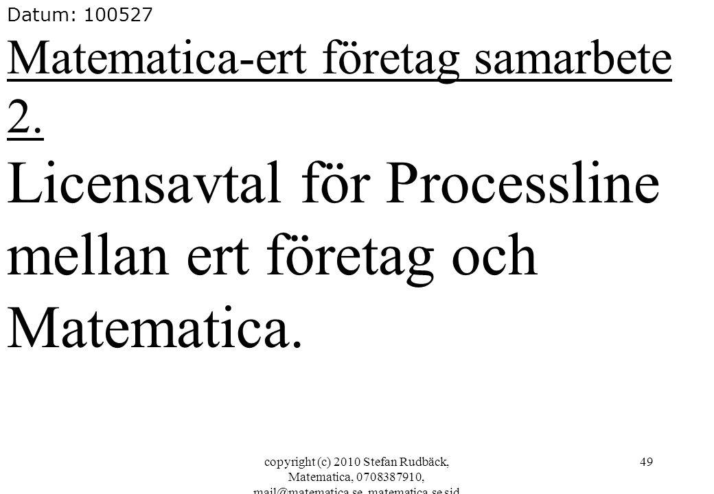 Licensavtal för Processline mellan ert företag och Matematica.