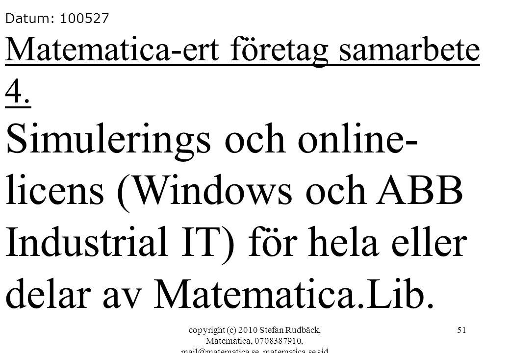 Datum: 100527 Matematica-ert företag samarbete 4.