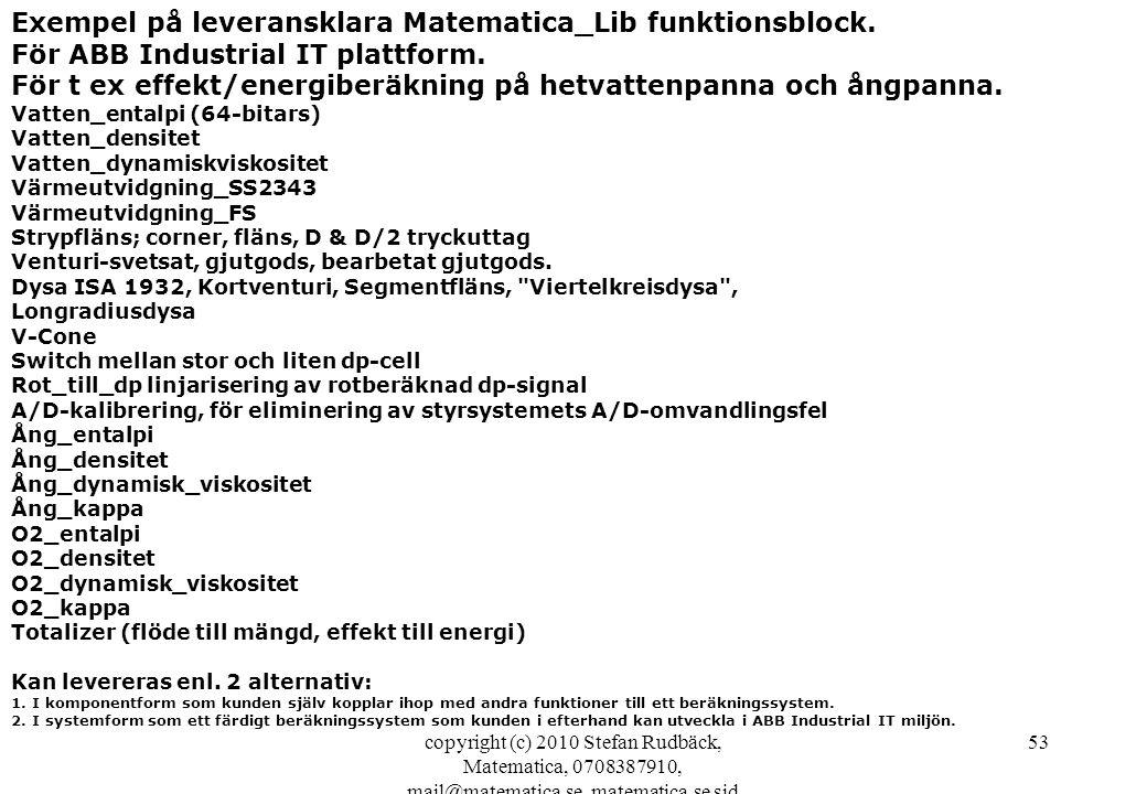 Exempel på leveransklara Matematica_Lib funktionsblock.