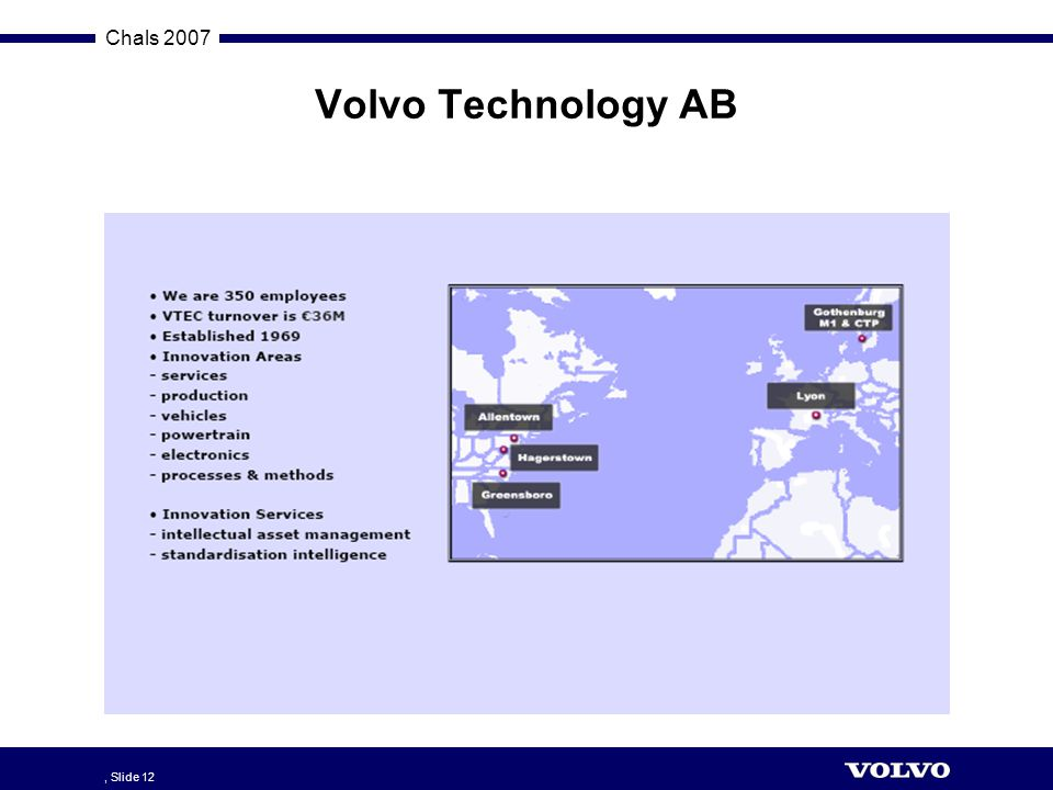 Volvo Technology AB , Slide 12