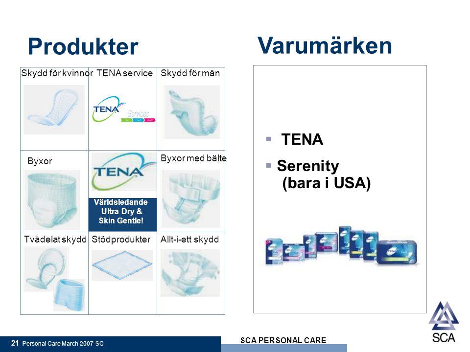 Produkter Varumärken TENA Serenity (bara i USA) Skydd för kvinnor